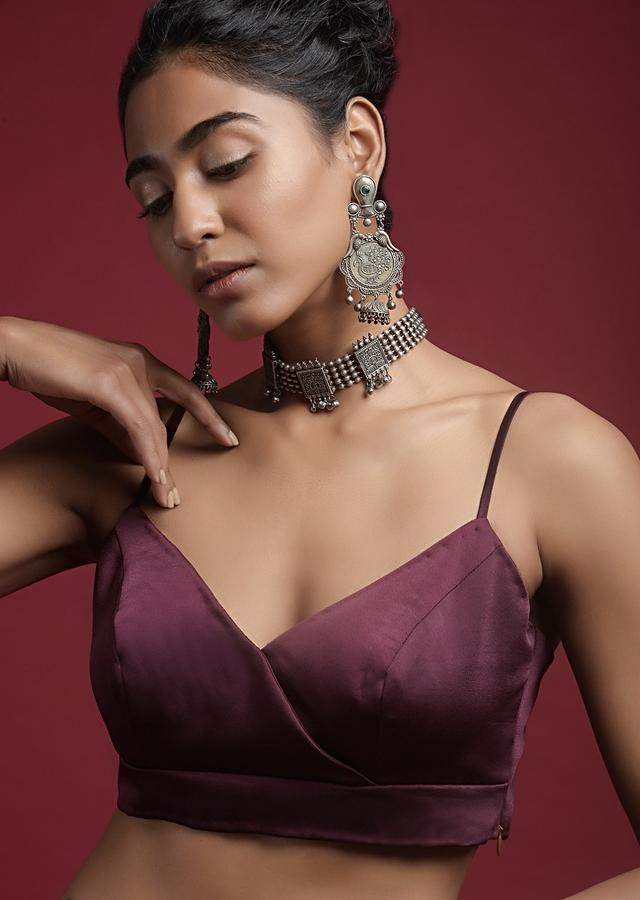 Wine Purple Blouse In Milano Satin With Spaghetti Straps And Stitched Overlapping Neckline Online - Kalki Fashion