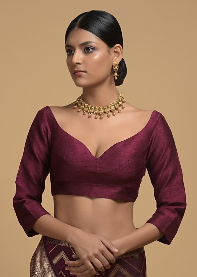 Wine Purple Blouse In Raw Silk With Sweetheart Neckline And 3/4th Sleeves Online - Kalki Fashion