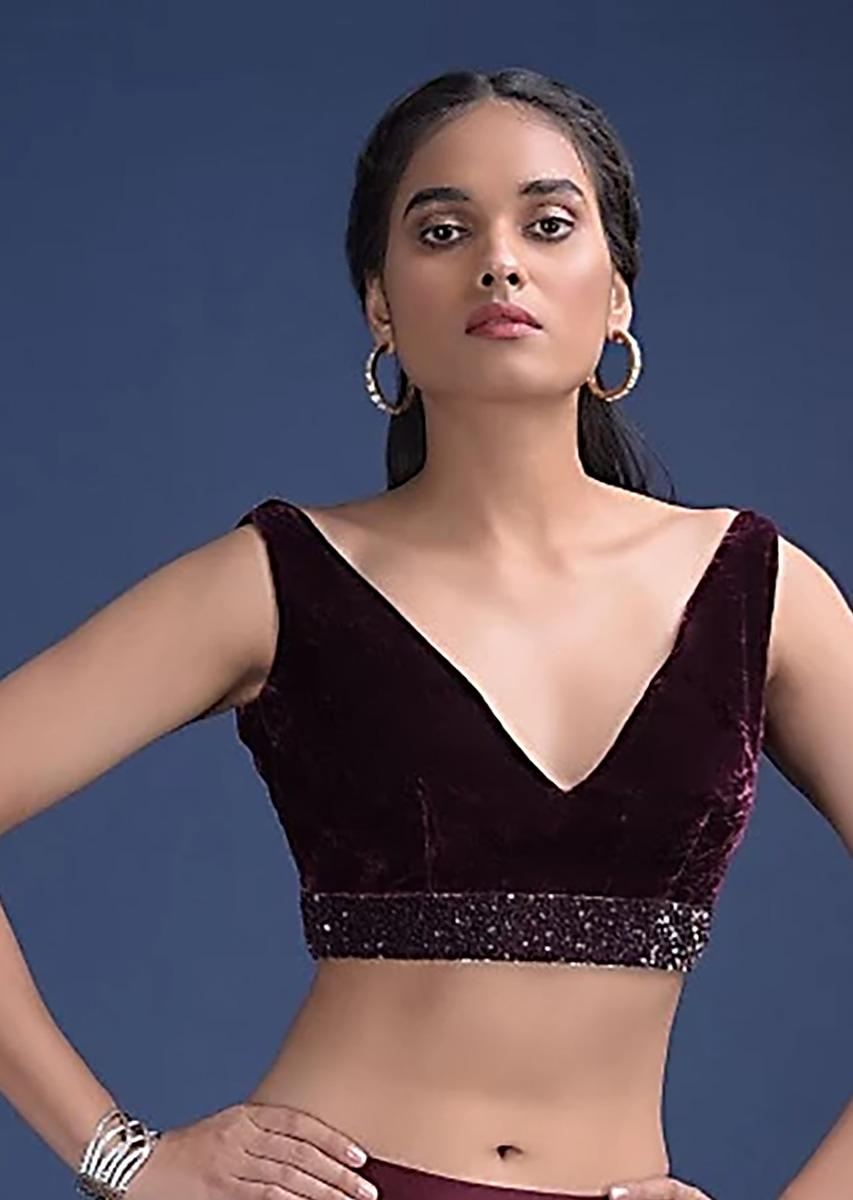 Wine Purple Blouse In Velvet With V Neckline And Waist Accented With Cut Dana And Sequins Work  Online - Kalki Fashion