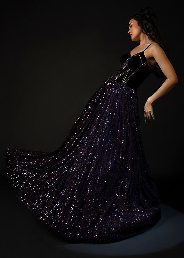 Wine Purple Corset Gown In Striped Sequins Fabric With A Velvet Bodice Featuring Edgy Cut Dana Work Online - Kalki Fashion