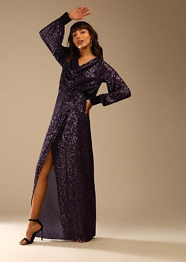 Wine Purple Gown In Sequins Fabric With Cowl Neckline And Peasant Sleeves Online - Kalki Fashion
