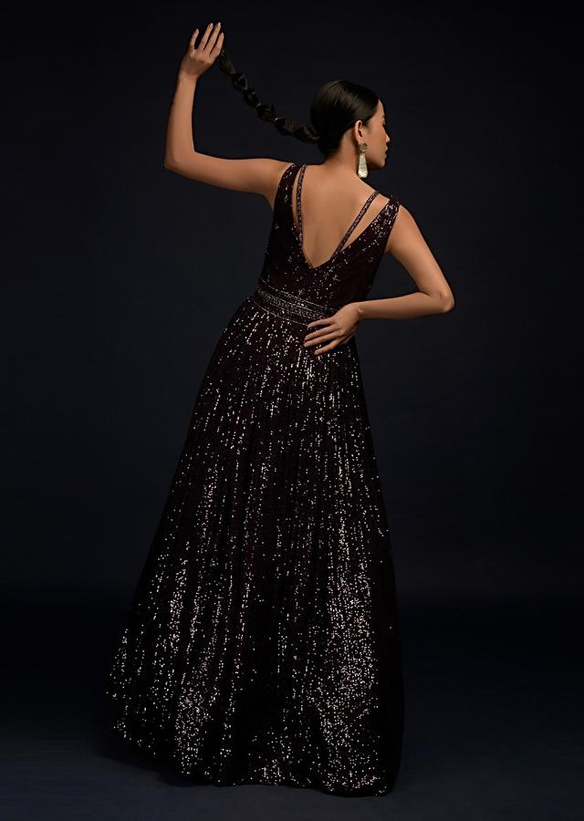 Wine Purple Gown In Sequins Fabric With Cut Dana Work And Deep V Neckline Online - Kalki Fashion