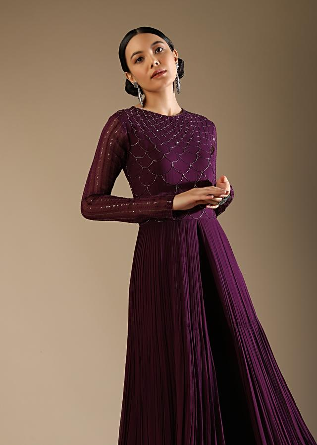 Wine Purple Palazzo Suit With A Long Slit Top Adorned In Cut Dana Work In Scallop Design Online - Kalki Fashion