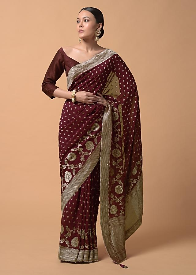 Wine Purple Saree In Georgette With Brocade Buttis And Floral Border Online - Kalki Fashion