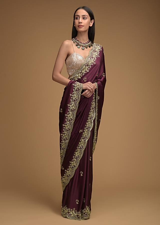 Wine Purple Saree In Satin With Hand Embroidered Scalloped Border And Floral Buttis Along With Unstitched Blouse Online - Kalki Fashion