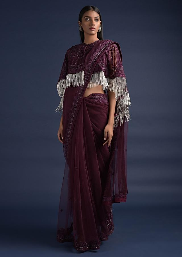 Wine Purple Saree With Floral Buttis And Matching Cape With Salli Fringes Online - Kalki Fashion