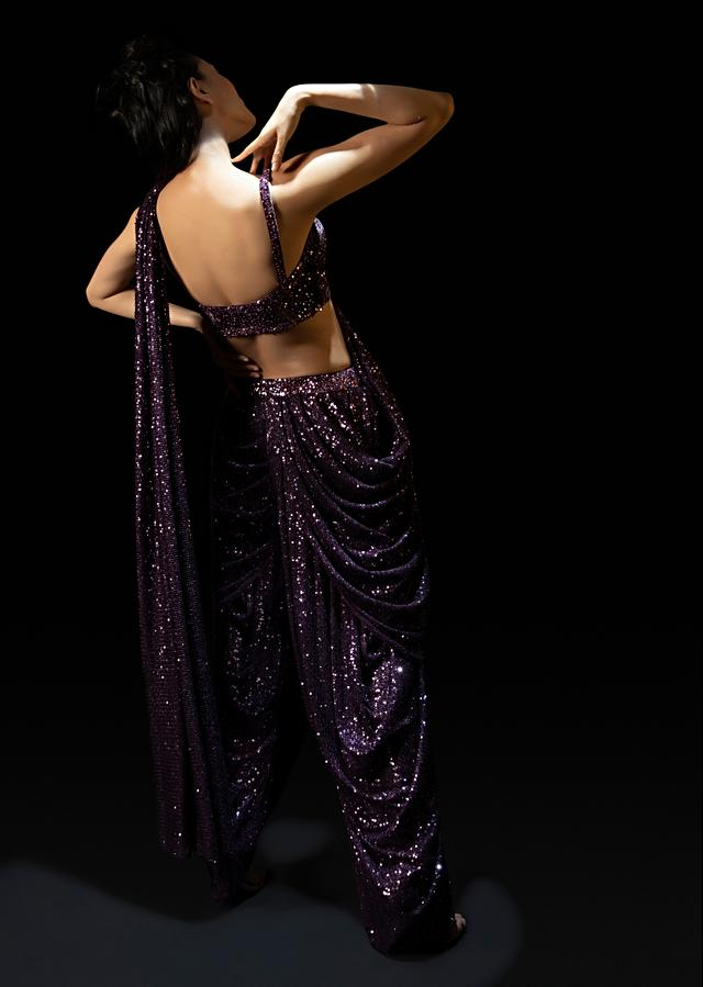 Wine Purple Sequins Dhoti Saree With Hand Embroidered Velvet Blouse And Belt Bag Online - Kalki Fashion