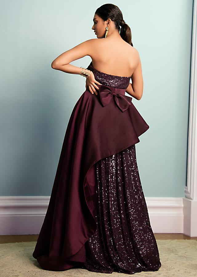 Wine Purple Strapless Gown In Sequins Fabric With Fancy Dupion Asymmetric Drape Layer Online - Kalki Fashion
