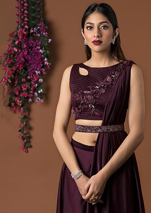 Wine Quilted Crop Top With Double Layer Pants And Attached Drape Online - Kalki Fashion