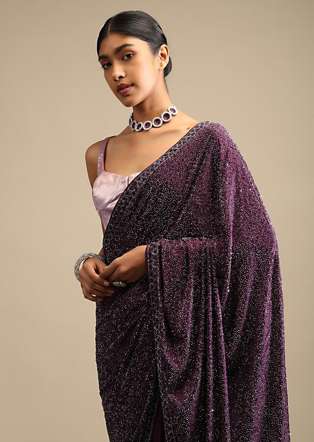 Wine Saree In Satin With A Heavy Embellished Pallu Using Scattered Sequins And Unstitched Blouse Online - Kalki Fashion