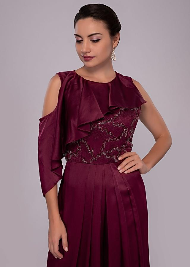 Wine Jumpsuit In Satin With Net Embroidered Bodice Online - Kalki Fashion