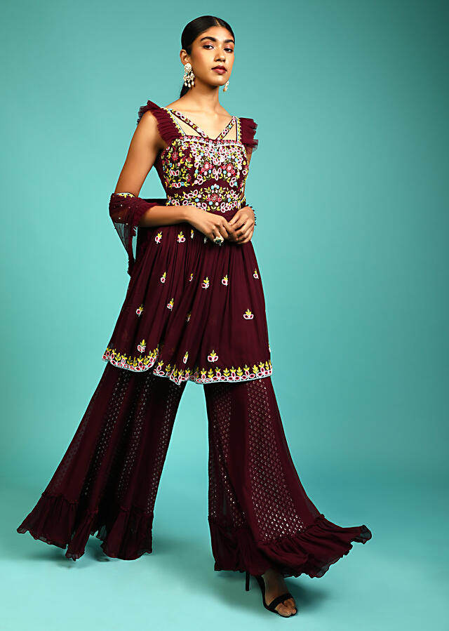 Wine Sharara And Peplum Suit In Georgette With Multi Color Thread And Mirror Embroidered Floral Design Online - Kalki Fashion