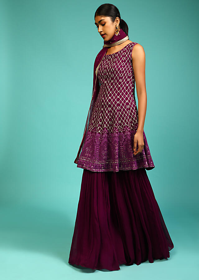 Wine Sharara And Peplum Suit With Zari Embroidered Mesh Design And A Lucknowi Embroidered Moroccan Design On The Border Online - Kalki Fashion