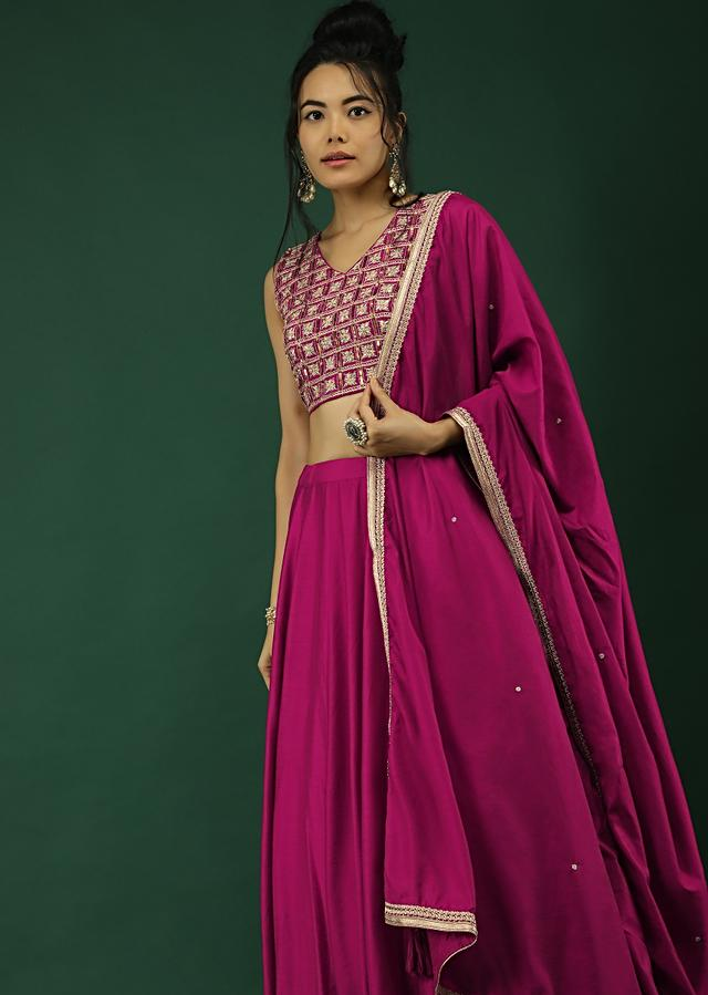 Wine Skirt And Crop Top Set With Zari And Sequins Embroidered Checks Design Online - Kalki Fashion