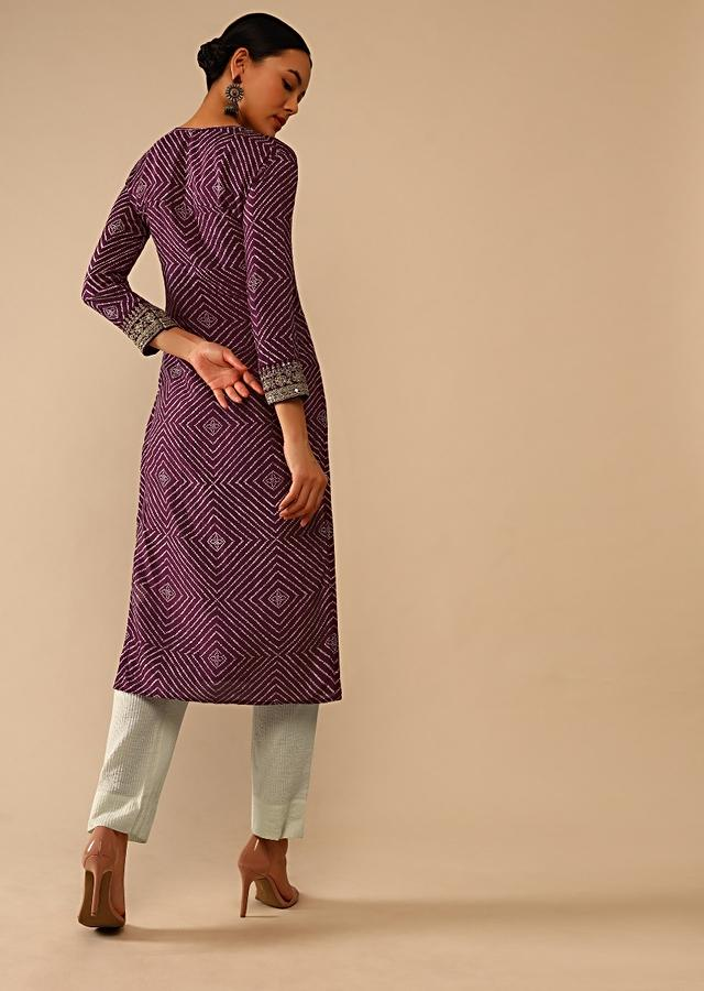Wine Straight Cut Kurti In Cotton With Bandhani Print In Geometric Motifs And Adorned With Sequins And Zari Work Online - Kalki Fashion