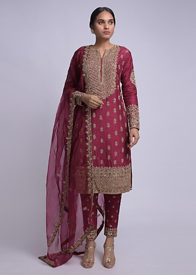 Wine Straight Cut Suit With Embroidered Placket And Buttis Online - Kalki Fashion