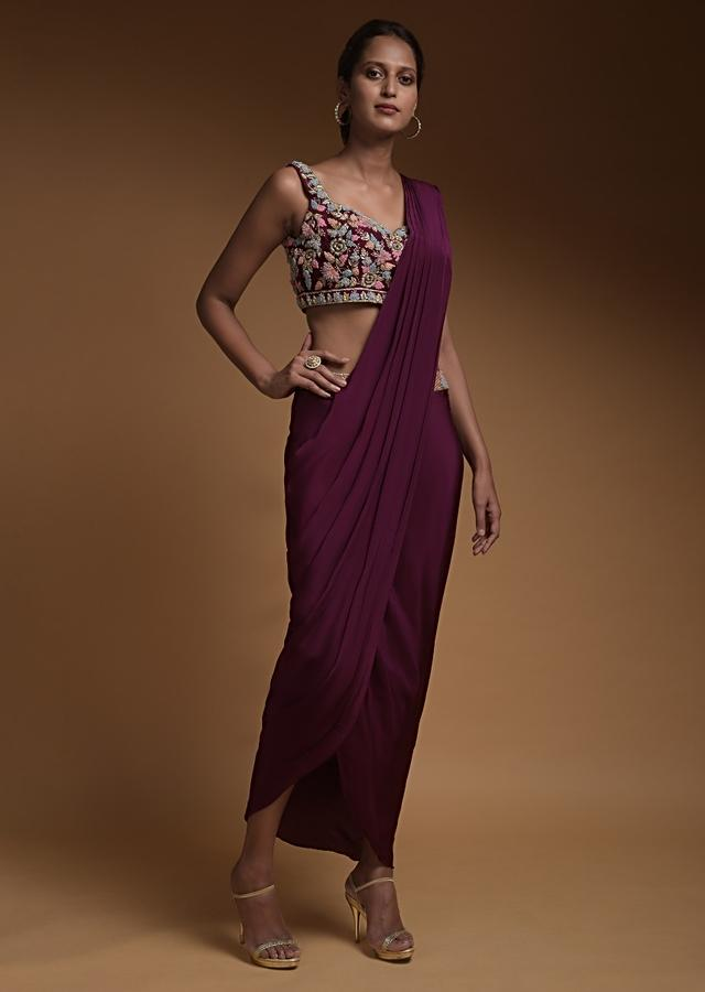 Wine Straight Skirt In Crepe With Cowl Drape And Hand Embellished Crop Top Online - Kalki Fashion