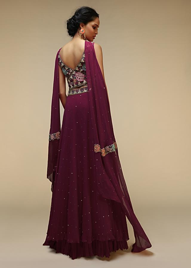 Wine Suit In Georgette With Criss Cross Overlapping And Cut Out Detailing Adorned In Multi Colored Resham And Moti Embroidery Online - Kalki Fashion