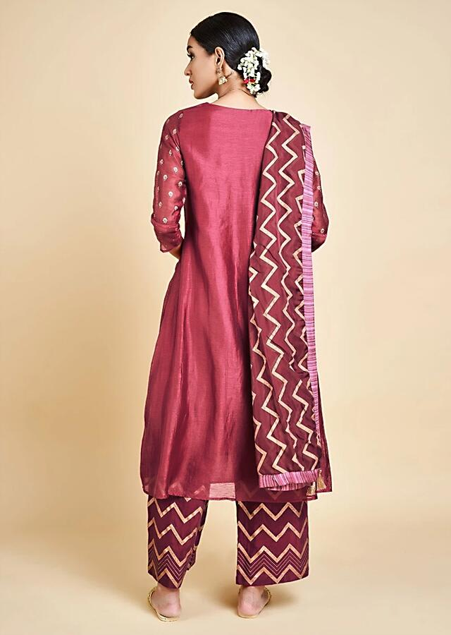 Wine A Line Suit In Cotton Silk With Foil Printed Buttis And Palazzo Pants Online - Kalki Fashion