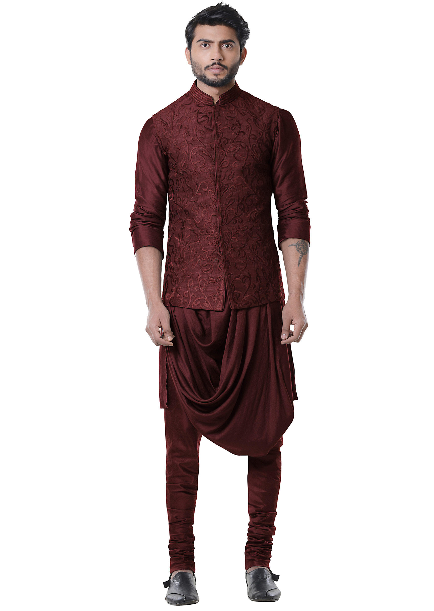 673a51104 Wine Cowl Kurta with Full Embroidered Grey Waist Coat set.