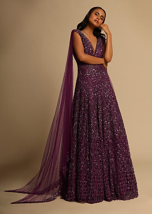 Wine Gown In Embellished Net With Sequins And Cut Dana Work Online - Kalki Fashion
