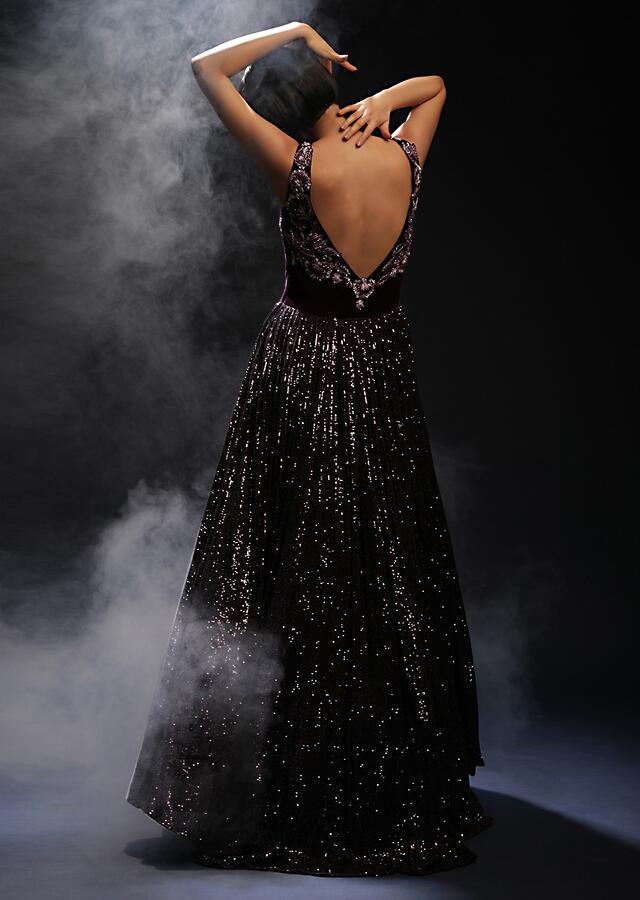 Wine Purple Corset Gown In Sequins Fabric With Cut Dana Embroidered Velvet Bodice Designed With Plunging V Neckline Online - Kalki Fashion