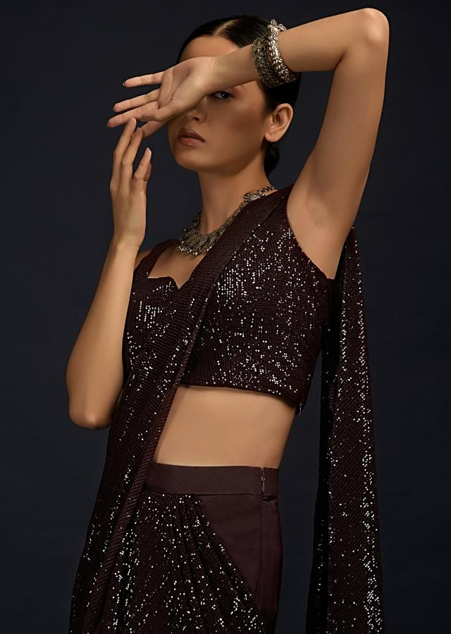 Wine Purple Ready Pleated Saree In Crepe With Sequins Embellished Pallu, Frill On The Hemline And Ready Blouse Online - Kalki Fashion