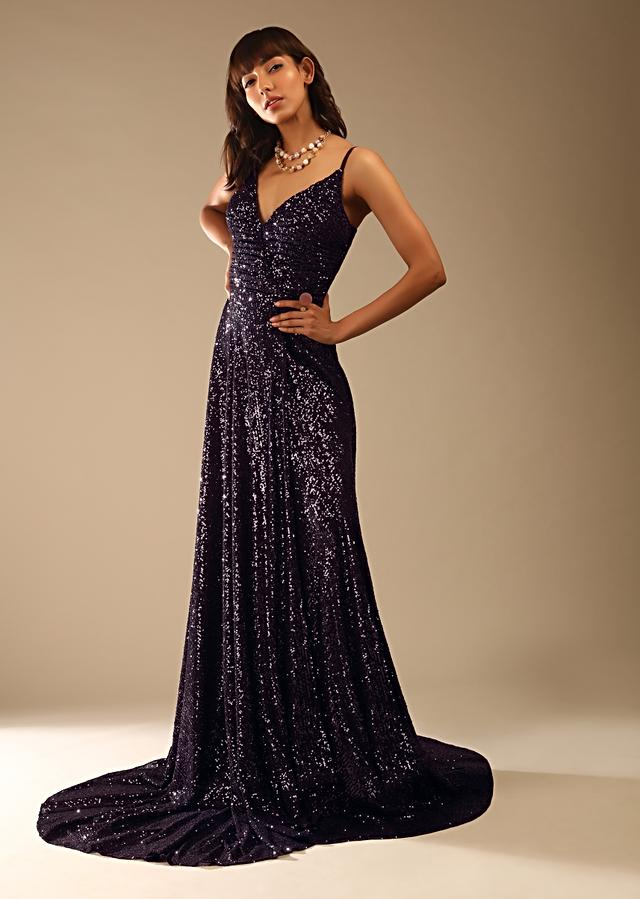 Wine Purple Sequins Gown With Ruching On The Bodice And Overlapping Trail Design Online - Kalki Fashion