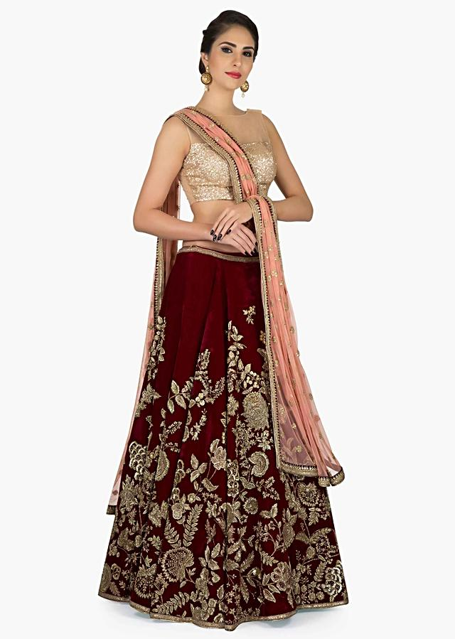 Wine Lehenga In Velvet With Pink Dupatta With Detailed Zari Zardosi Work Online - Kalki Fashion