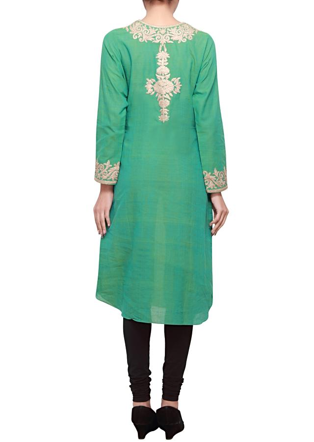 Winter green silk kurti embellished in zari only on kalki