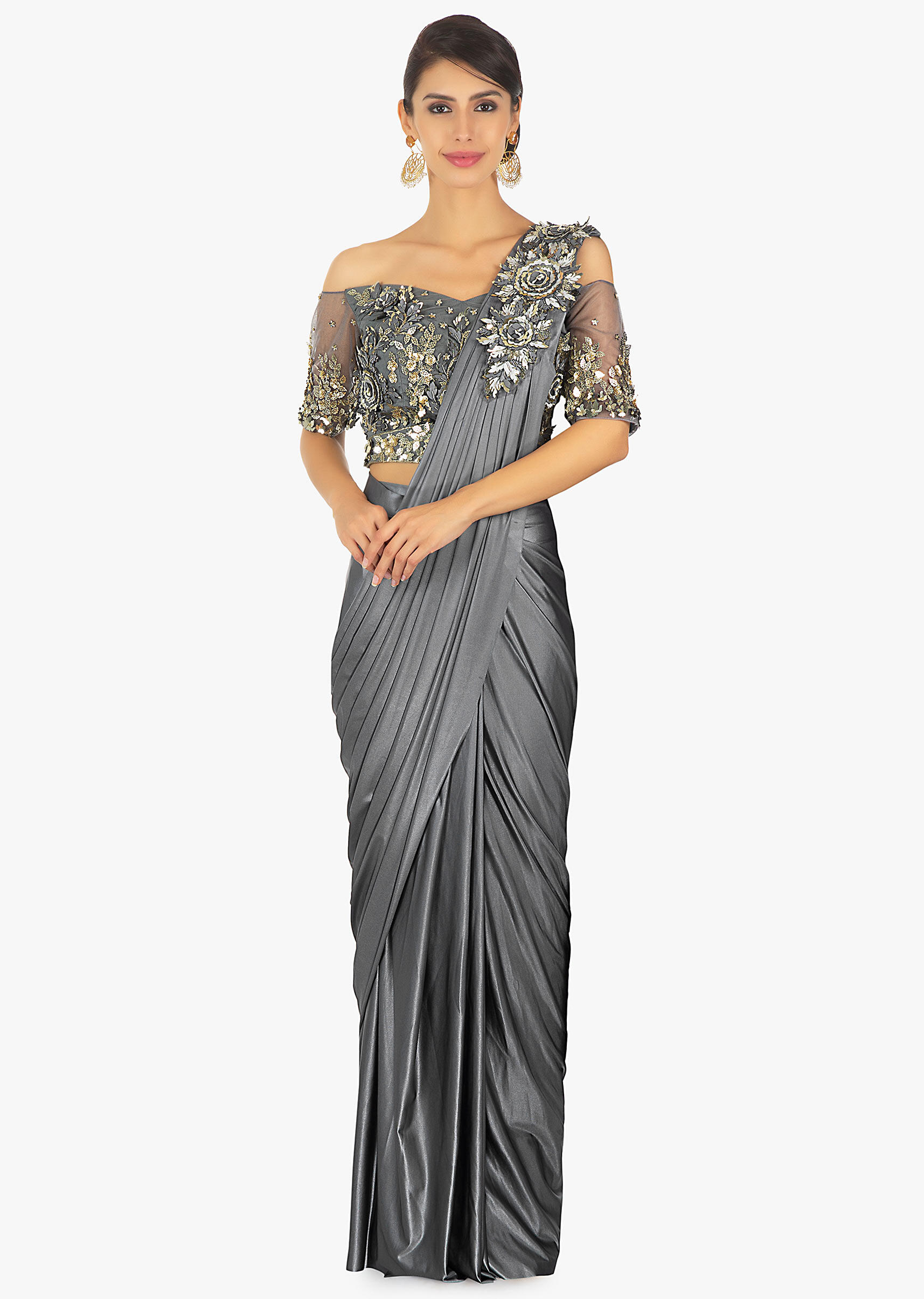 4201935ed8 Wrap around lycra saree with presstitched pleats and pallo paired with an  embellished net blouse only on KalkiMore Detail