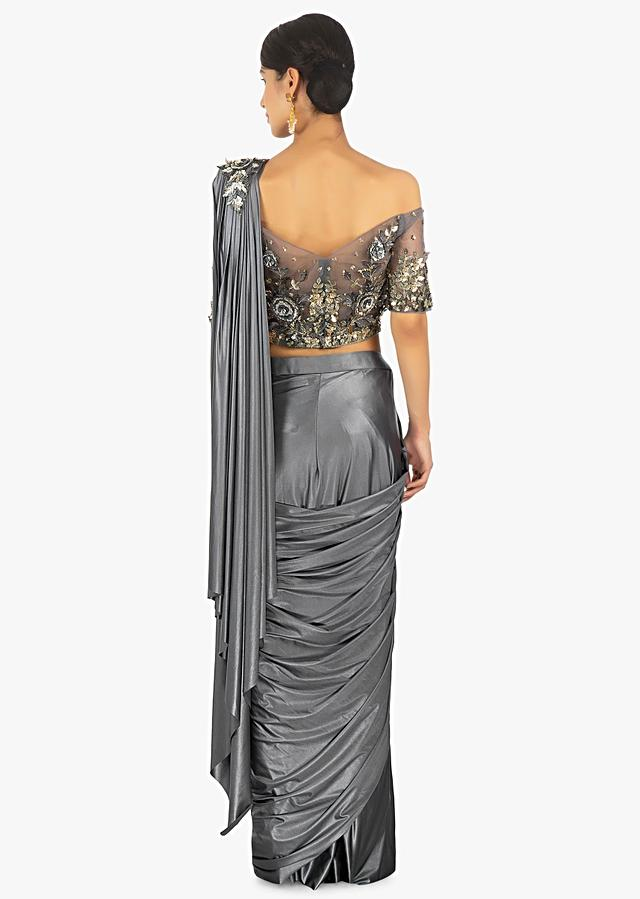 Gunmetal Grey Saree In Lycra With Presstitched Pleats And Pallo Paired With An Embellished Net Blouse Online - Kalki Fashion
