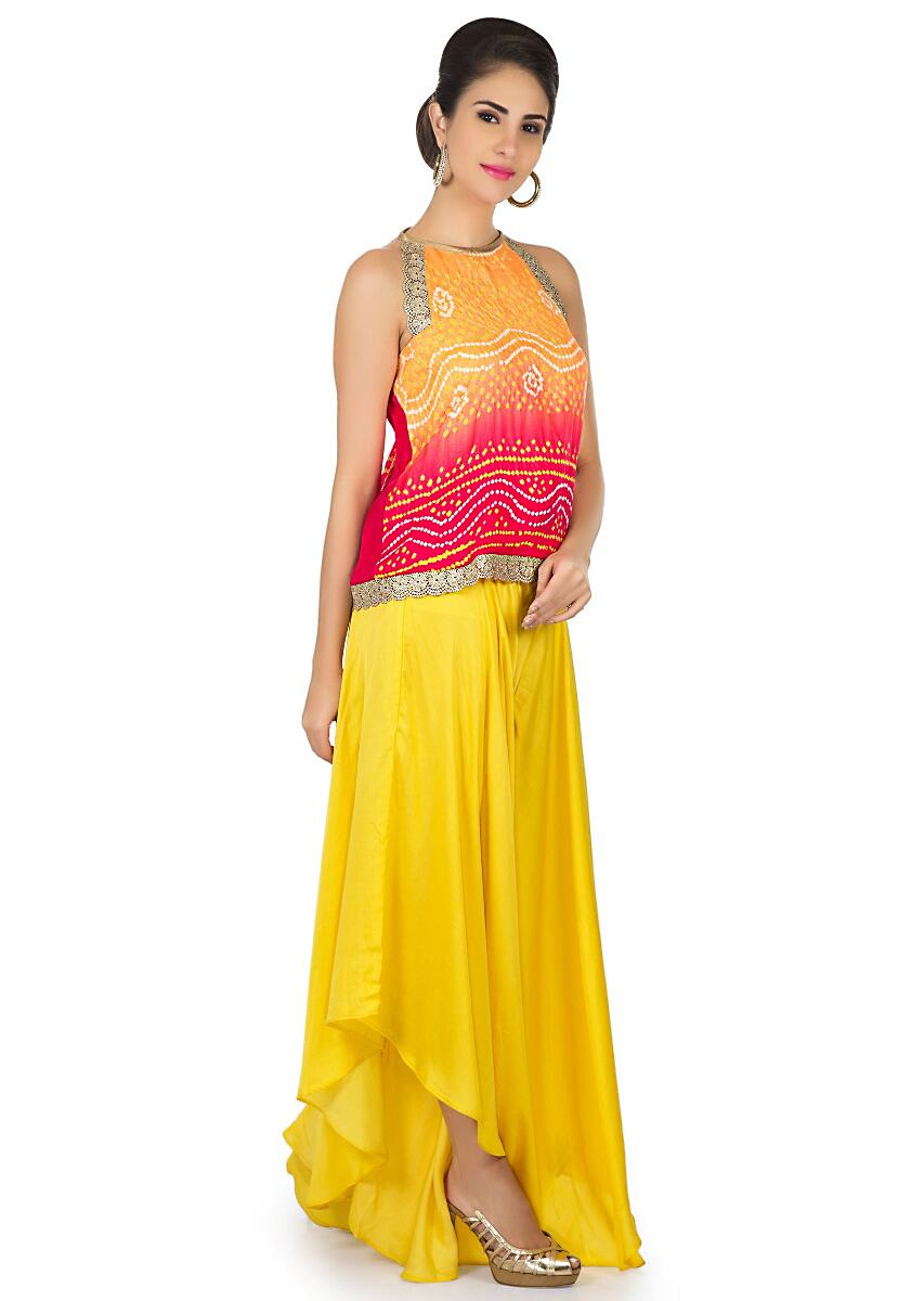 c27d0f01203 Orange and red bandhani top with yellow fancy palazzo pant only on Kalki