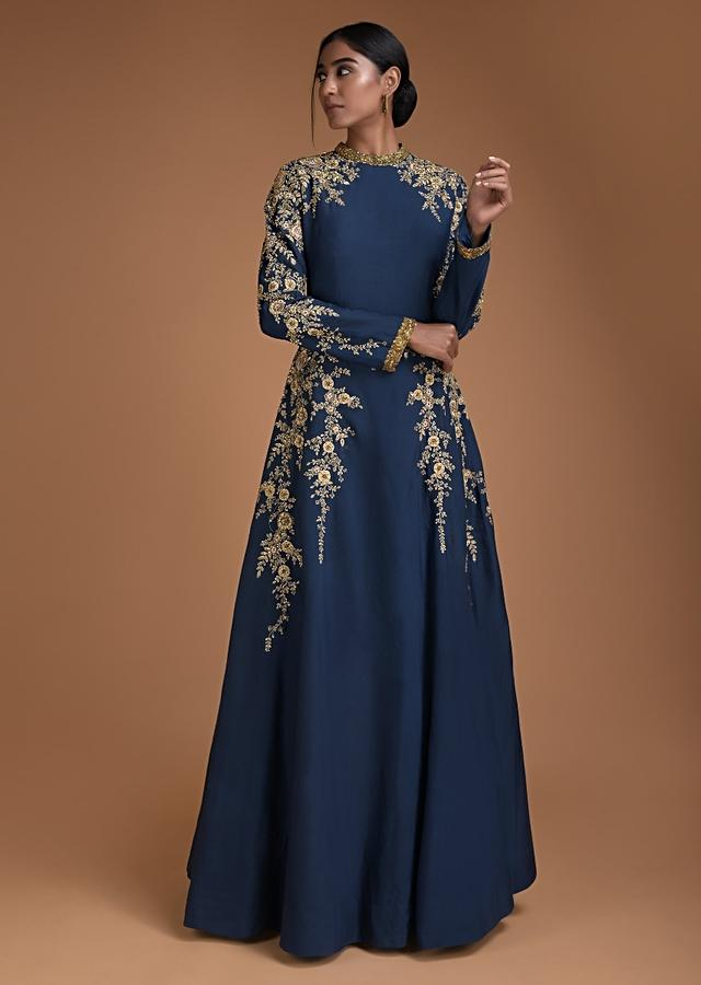 Yale Blue Anarkali Gown Embroidered With Zardozi And Resham Work In Floral Pattern Online - Kalki Fashion
