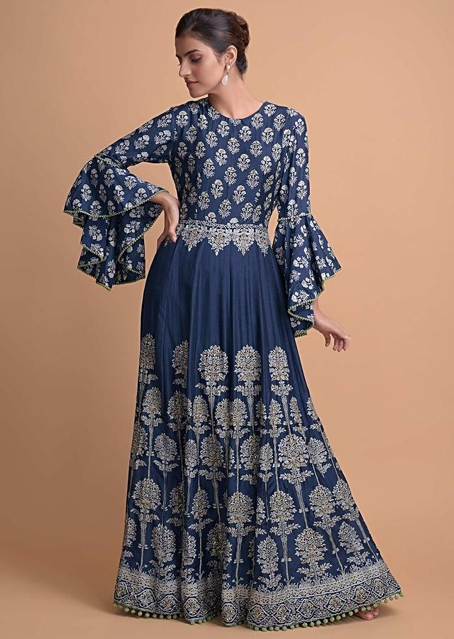 Yale Blue Anarkali Suit In Cotton Silk With Nature Inspired Printed Buttis Online - Kalki Fashion