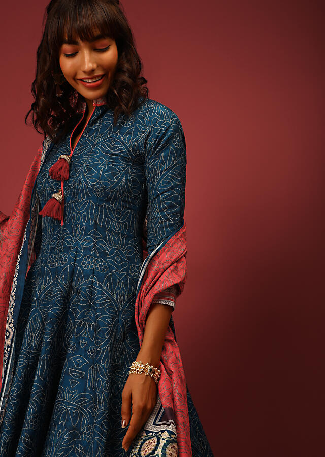 Yale Blue Anarkali Suit In Silk With Floral Jaal And Contrasting Red Border With Ethnic Print Online - Kalki Fashion