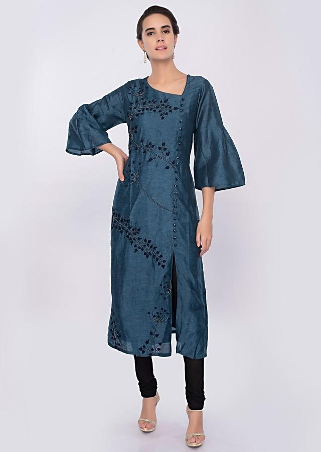 Yale blue cotton silk kurti in floral embroidery only on Kalki