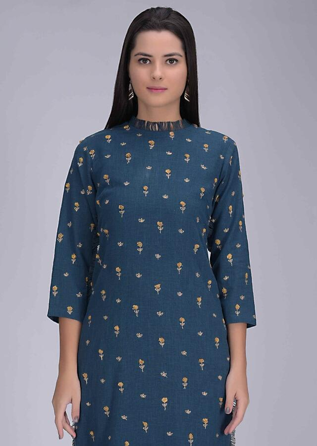 Yale Blue Suit In Cotton With Matching Straight Cut Pants Online - Kalki Fashion