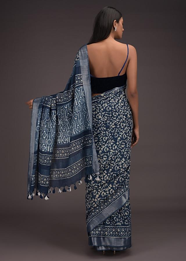 Yale Blue Saree In Linen With Batik Printed Floral Jaal And Zari Weaved Border Online - Kalki Fashion