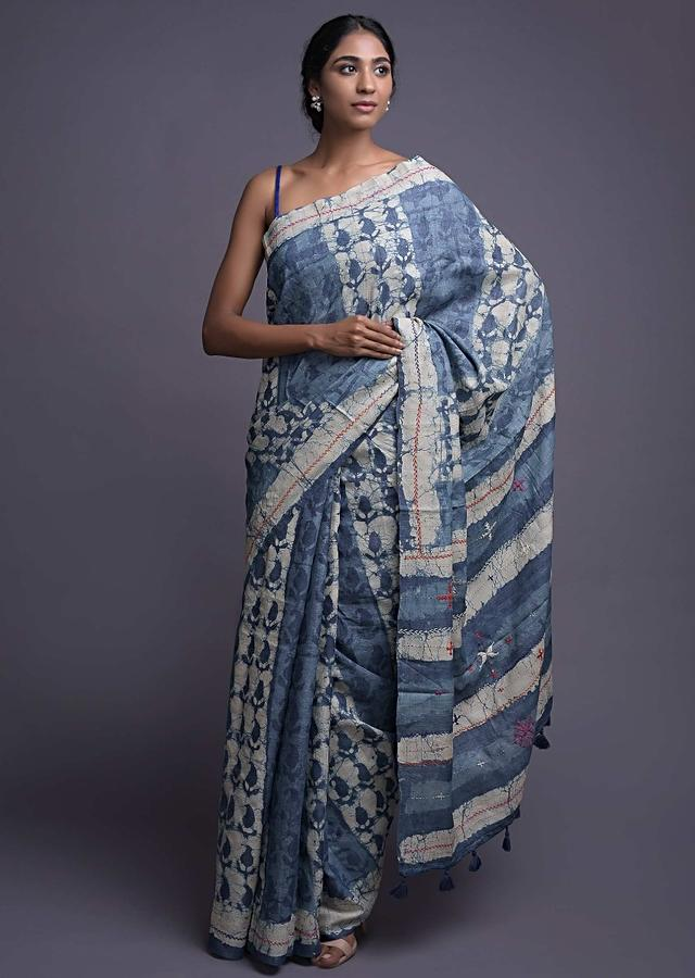 Yale Blue Saree In Tussar Silk With Batik Print And Hand Embroidered Thread Work Online - Kalki Fashion