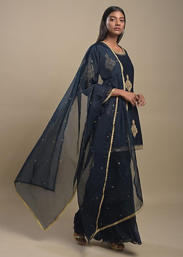 Yale Blue Sharara Suit With Zardozi Embroidered Ethnic Motifs In Repeat Pattern Online - Kalki Fashion