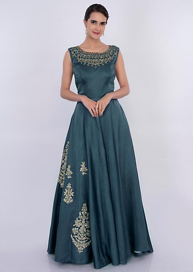 Yale Blue Gown In Silk With Side Embroidered Butti Online - Kalki Fashion