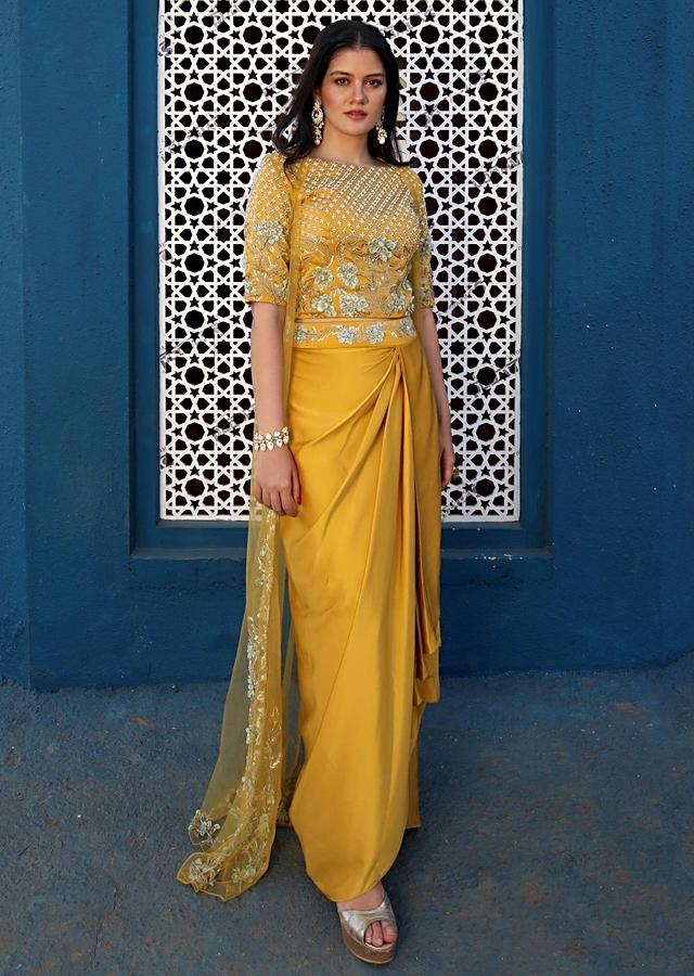 Yamini Rameshh in Kalki sun yellow milano satin crop top and skirt set with net jacket