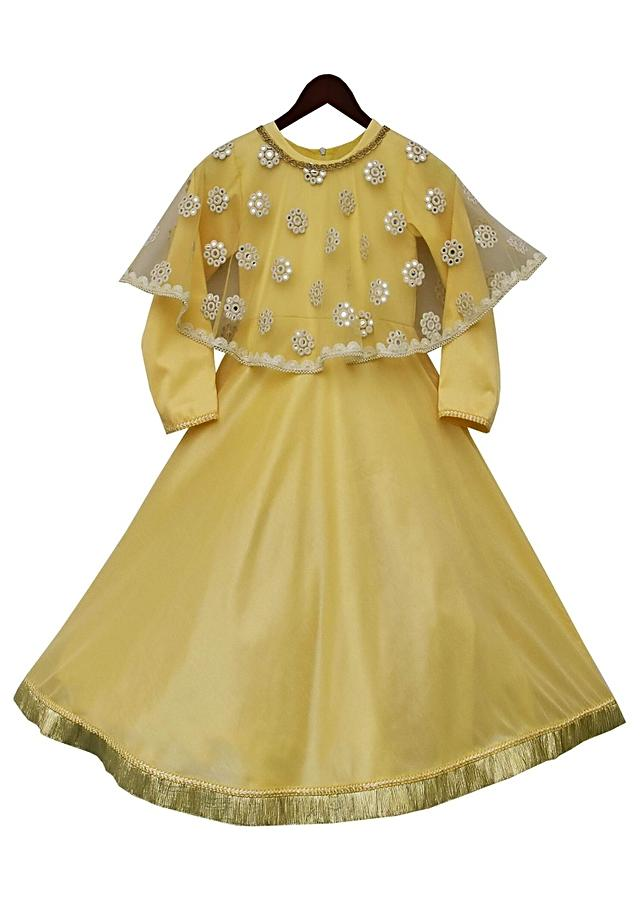 Yellow Anarkali Dress With Mirror Cape by Fayon Kids