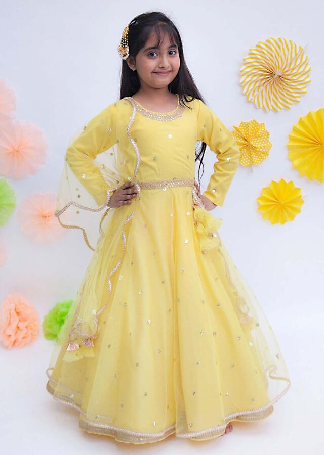 Yellow Anarkali Suit In Net With Sequins Butti Work By Fayon Kids