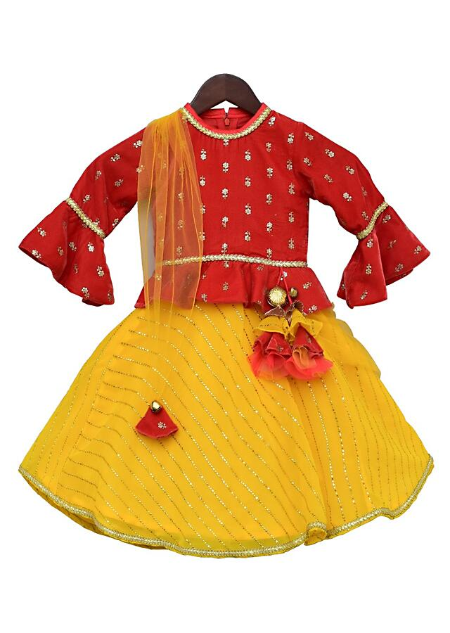 Yellow Anarkali Suit With Coral Peplum Top By Fayon Kids