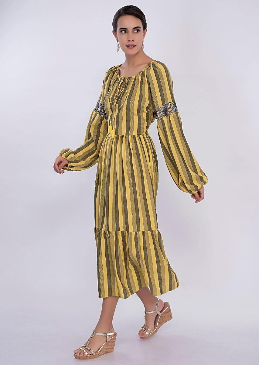 2a75eb80d738 Yellow and black striped cotton tunic dress only on Kalki