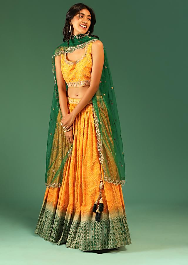 Yellow And Green Ombre Lehenga In Silk With Bandhani Design All Over And Brocade Border Online - Kalki Fashion