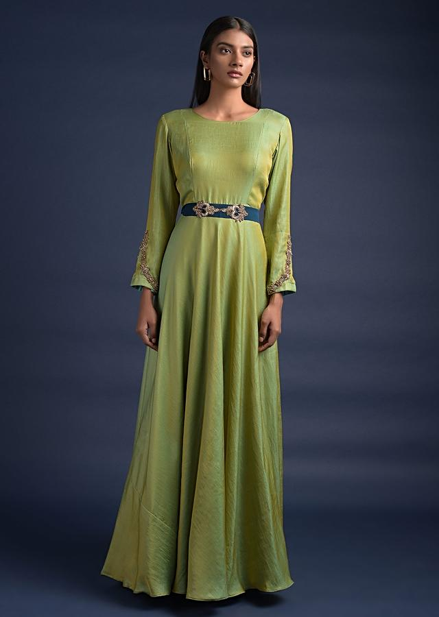 Yellow And Green Two Toned Anarkali Suit With Contrasting Blue Draped Dupatta Online - Kalki Fashion