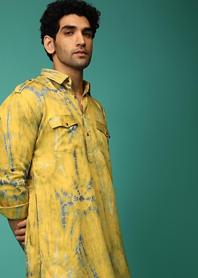 Yellow And Grey Patiala Suit With Tie Dye Print And Pocket Detailing Online - Kalki Fashion